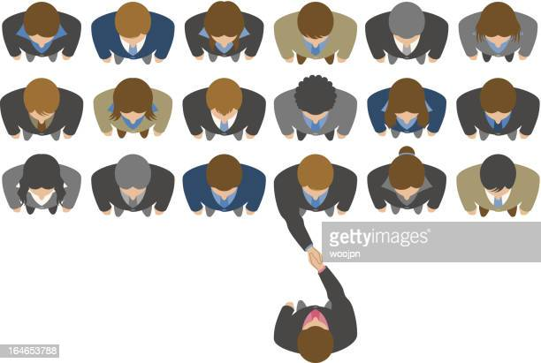 Overhead view of businessman choosing a business partner