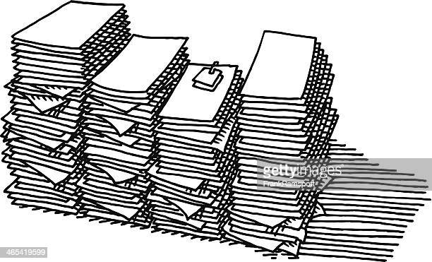 Overtime Paper Stack Work Drawing