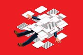 Overwork concept. Accountant under a overloaded paper pile of documents. Businessman flat vector illustration