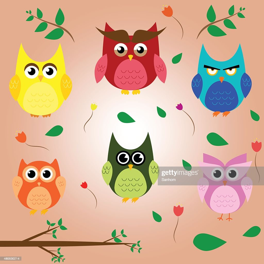 owl branch cartoon set animal character vector design : Vector Art