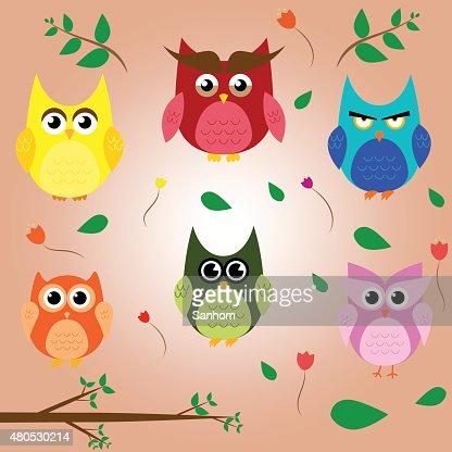 owl branch cartoon set animal character vector design : Vector Art