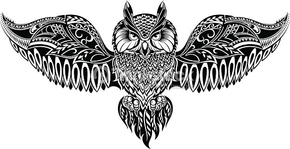 Owl In Tribal Style For Mascot Or Tattoo Stock Vector