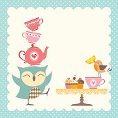 Funny owl giving a very good tea party.