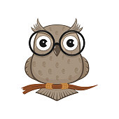 Icon of Owl with glasses isolated on white background, illustration.