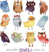Watercolor vector owls