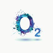 O2 Oxygen Formula. Waterciolor splashes paint