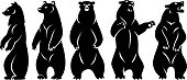Five Stand-alone Bears. Black silhouette. Isolated on a white background