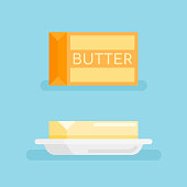 Pack of butter and butter on saucer isolated on blue background. Flat style icon. Vector illustration.