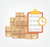 Package box with check list and clock in time.  Logistic fast online delivery concept web icon.  Vector flat cartoon illustration