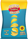Package design of snacks or chips. Vector template original snack chips in polythene package illustration
