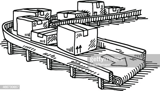 Packages Conveyor Belt Drawing Vector Art Getty Images