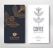 Packaging design for a coffee. Vector template. Line style vector illustration. Coffee branch.