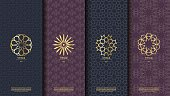Packaging template Islamic element seamless pattern background and  vector design, inclusive of swatch pattern