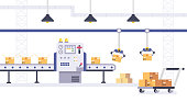 Cardboard Boxes on conveyor belt in factory. Packing and Production line concept in flat style. Industrial machine vector illustration.