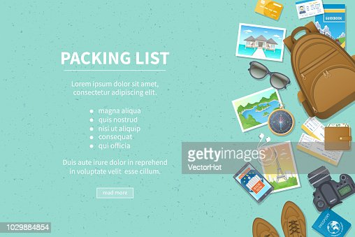 Packing list, travel planning. Preparing for vacation, travel, journey, trip. Baggage, air tickets, passport, wallet, guidebook, camera, compass, headphones, shoes. Place for text. Top view : stock vector
