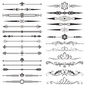 Set of page divider and design elements vector illustration. Saved in EPS 8 file. Well constructed for easy editing. Hi-res jpeg file included (5000x5000).