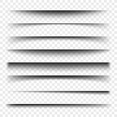 Page divider with transparent shadows isolated. Pages separation vector set. Transparent shadow realistic illustration