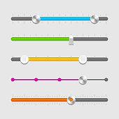 UI sliders set vector illustration with transparent effect. Eps10.