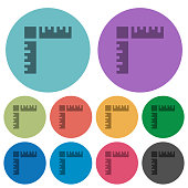 Page rulers darker flat icons on color round background