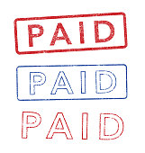 Vector illustration of the word Paid in red and blue stamps