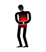 Pain Human icon. Sick person sign. diseased human symbol. curl up in pain