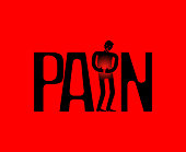 Pain symbol lettering. Sick person. Typography Letters and Disease Human