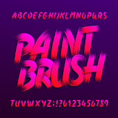 Paint brush alphabet font. Uppercase brushstroke grunge letters and numbers. Stock vector typography.