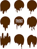 Paint drops and strokes. Vector splashes collection stain splash, shape of paint ink illustration