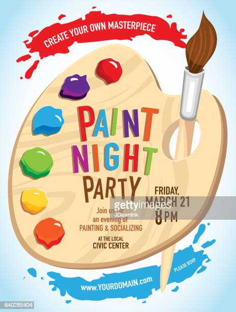 Paint night Party invitation with colorful palette and brush