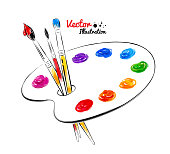 Paint palette. Hand drawn watercolor and line art. Vector illustration. isolated.