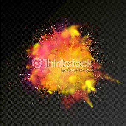 Paint Powder Explosion On Transparent Background Vector Bright Color Particles Dust Explode Or Splash