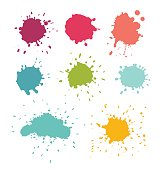 Paint splats. Stain and water drop set, isolated vector illustration on white background