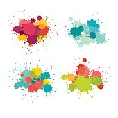 Paint splat vector set. Colorful grunge texture for your design, blue yellow pink purple red brush
