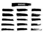 Painted grunge stripes set. Vector illustration