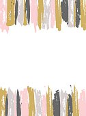 Painted Pink and Gold Striped Background. Vector template for unique design!