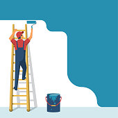 Painter standing on staircase paints the wall. A man is holding a paint roller in hand. Vector illustration of flat design style. Human runs to provide construction work. Customer Service. Worker in u