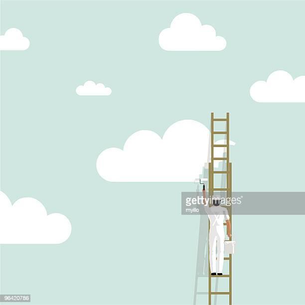 Painting sky painter cloud background wallpaper creativity illustration vector
