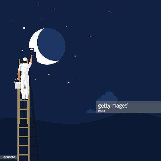 Painting the moon. background wallpaper creativity illustration vector