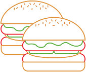 pair burgers fast food unhealthy vector illustration