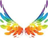 Multicolored futuristic wings on white background