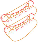 pair hot dogs bread and sausages food vector illustration