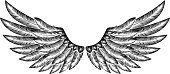 Pair of spread etched woodcut vintage style wings