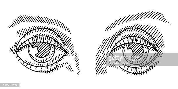 pair of eyes drawing vector art getty images