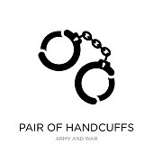 pair of handcuffs icon vector on white background, pair of handcuffs trendy filled icons from Army and war collection