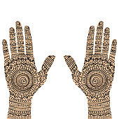 Pair of painting hands with ethnic motifs