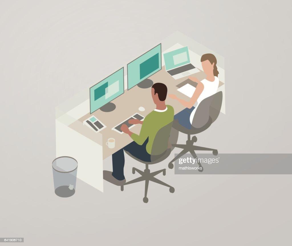 Pair programming illustration : Vector Art