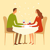 Pair sitting in a restaurant and holding hands. Including doodle elements. Cartoon illustration for your design.