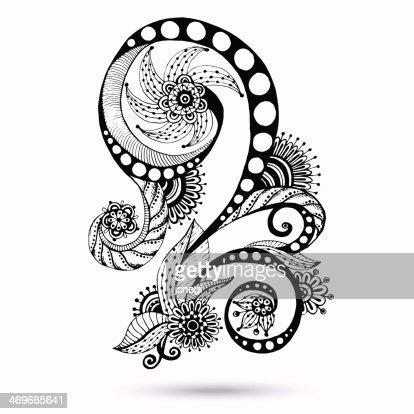 Paisley Mehndi Design Element For Henna Vector Art Thinkstock