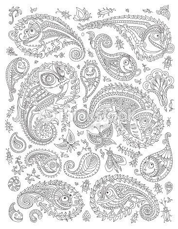 Patrón De Paisley Doodle Elementos De Conjunto Silueta Fantástica ...