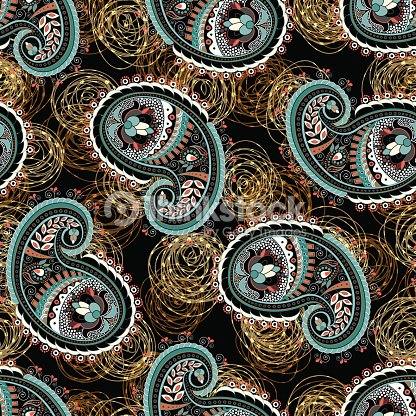 Paisley Seamless Pattern Indian Wallpaper Vector Art